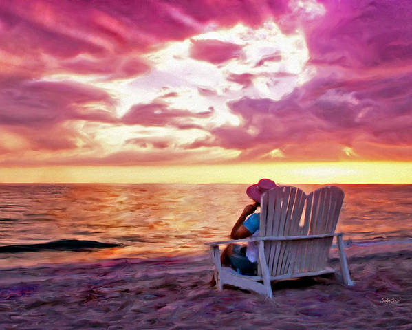 Beach Sea Sunset Tropical Seashore Poster featuring the painting Patience Within by Carolyn Staut