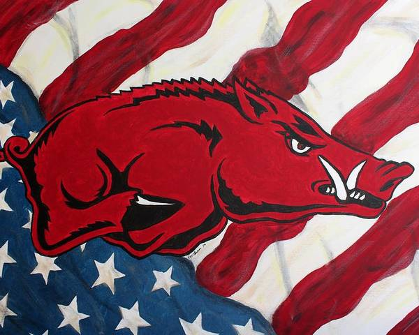 Razorback Poster featuring the painting Patriot Hog by Nathan Grisham