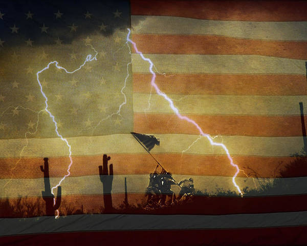 Lightning Poster featuring the photograph Patriotic Operation Desert Storm by James BO Insogna