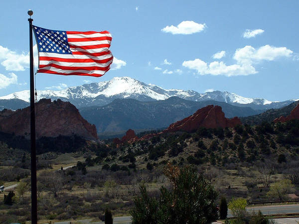 Flag Poster featuring the photograph Patriotism At Pikes Peak by Diane Wallace