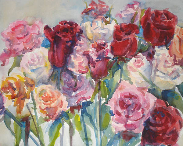 Roses Poster featuring the painting Paul's Roses II by Joyce Kanyuk