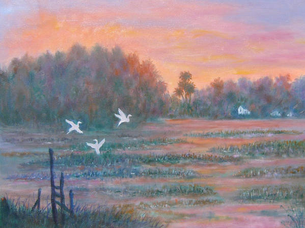 Low Country; Egrets; Sunset Poster featuring the painting Pawleys Island by Ben Kiger