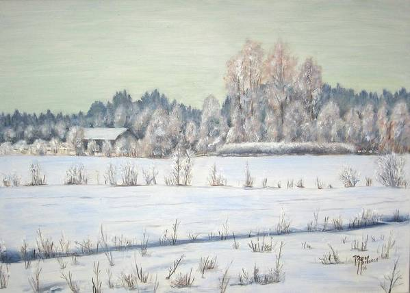 Winter Poster featuring the painting Peace Of The Winter by Maren Jeskanen