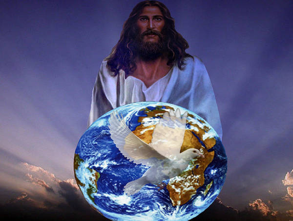 Religious Art Poster featuring the digital art Peace On Earth by Evelyn Patrick
