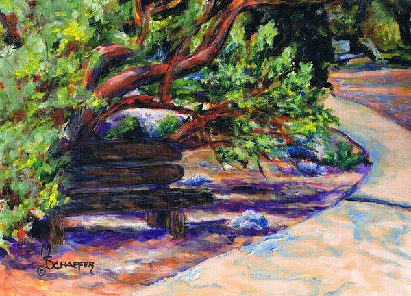 Santa Barbara Botanical Gardens Poster featuring the painting Peaceful Bench by M Schaefer