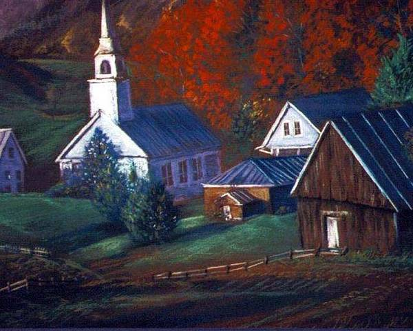 Church Poster featuring the pastel Peaceful Dwellings by Tommy Winn