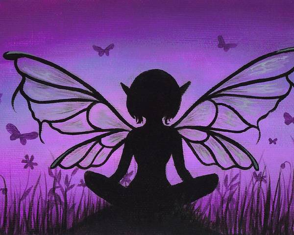 Fantasy Fairy Poster featuring the painting Peaceful Meadows by Elaina Wagner