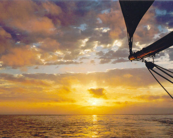 Sunset Poster featuring the photograph Peaceful Sailing by Kathy Schumann