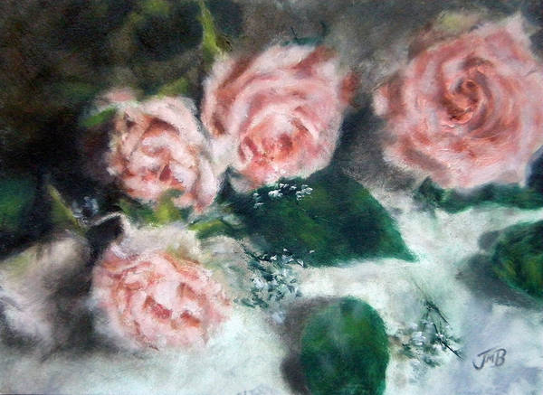 Roses Poster featuring the painting Peach Roses by Jill Brabant