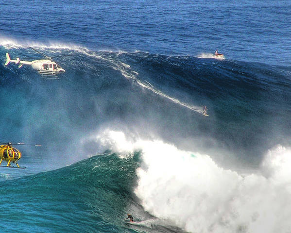 Jaws Maui Surfing Tow In Big Waves Extreme Surfers Helicopters Poster featuring the photograph Peahi Maui by Dustin K Ryan