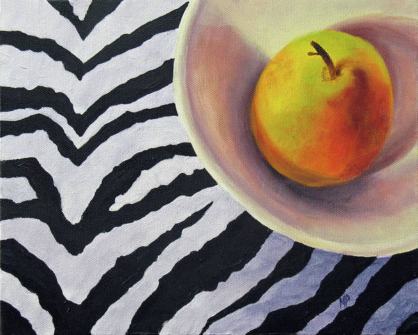 Still Life Poster featuring the painting Pear On Zebra by Marina Petro