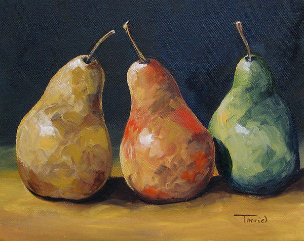 Pear Poster featuring the painting Pear Trio by Torrie Smiley