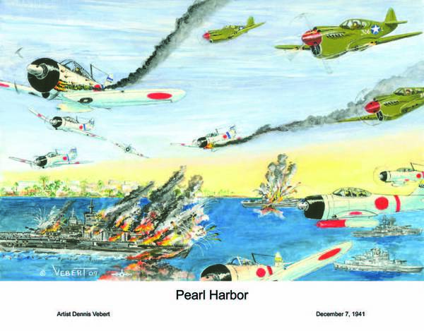 Fighter Planes Poster featuring the painting Pearl by Dennis Vebert