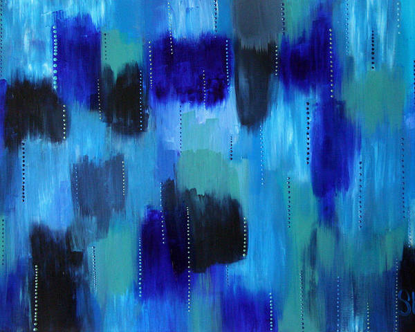 Abstract Paintings Poster featuring the painting Pearl Raindrops by Shiree Gilmore