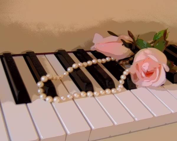 Still Life Poster featuring the photograph Pearly Pink Keys by Florene Welebny