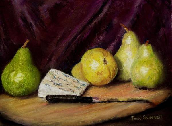 Still Life Poster featuring the pastel Pears And Cheese by Jack Skinner