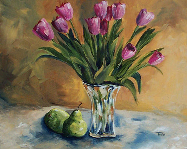 Tulips Poster featuring the painting Pears And Pink Tulips by Torrie Smiley