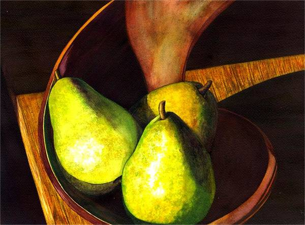 Still Life Poster featuring the painting Pears No 1 by Catherine G McElroy