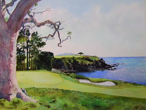 Landscape Poster featuring the painting Pebble Beach Gc 5th Hole by Scott Mulholland