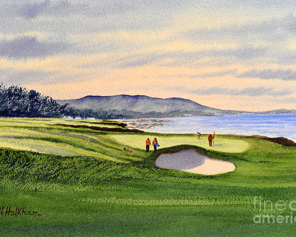 Golf Poster featuring the painting Pebble Beach Golf Course by Bill Holkham