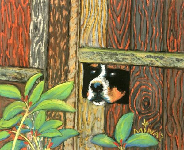 Dog Poster featuring the painting Peek-a-boo Fence by Minaz Jantz