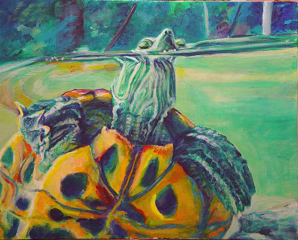 Turtle Poster featuring the painting Peeking by Gail Wartell