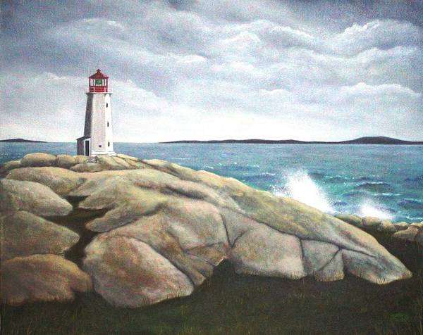 Original Painting Of Lighthouse Poster featuring the painting Peggys Light Nova Scotia by Sharon Steinhaus