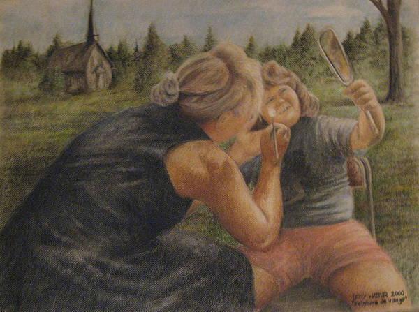 Peinture Poster featuring the pastel Peinture De Visage by Larry Whitler