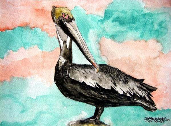 Bird Poster featuring the painting Pelican 3 by Derek Mccrea