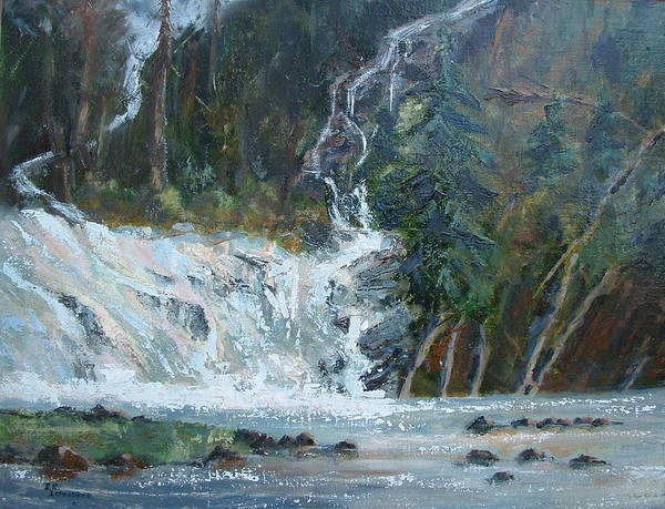 Landscape Poster featuring the painting Pelican Falls by Bryan Alexander