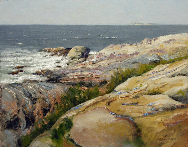 Landscape Poster featuring the painting Pemaquid Point by Bruce Newman