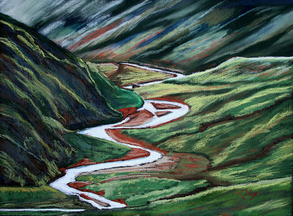 River. Stream. Valley. Pennine. England. Uk. Poster featuring the painting Pennine Valley. by John Cox