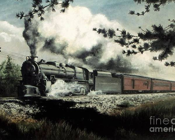 Pennsylvania Railroad Prr Train Painting Railroad Maryland And Pennsylvania Autumn Fall Colors Steam Engine Poster featuring the pastel Pennsy in the Pines by David Mittner