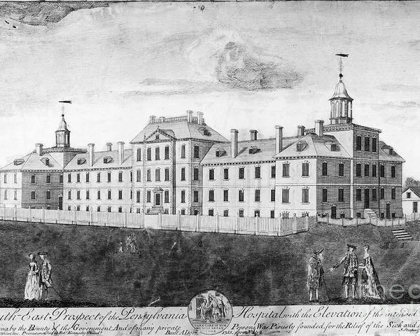 1755 Poster featuring the photograph Pennsylvania Hospital, 1755 by Granger