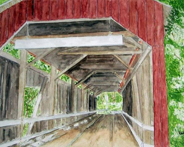 Covered Bridge Art Poster featuring the painting Pennsylvania Inside And Out by Larry Wright