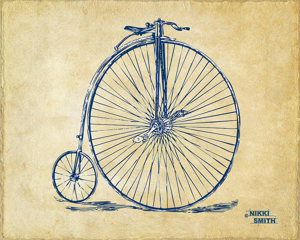 Penny-farthing Poster featuring the drawing Penny-farthing 1867 High Wheeler Bicycle Vintage by Nikki Marie Smith