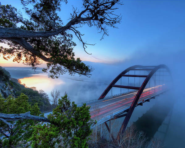 Horizontal Poster featuring the photograph Pennybacker Bridge In Morning Fog by Evan Gearing Photography