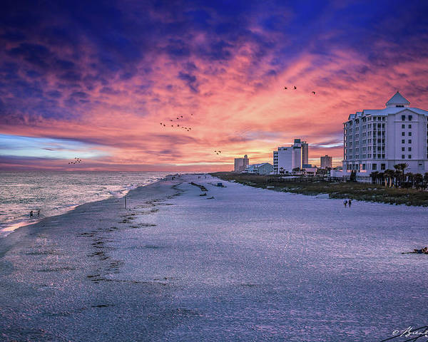 Brent Shavnore Pensacola Beach Sunset Emerald Coast Escambia County Poster featuring the digital art Pensacola Beach Vibrant Sunset by Brent Shavnore