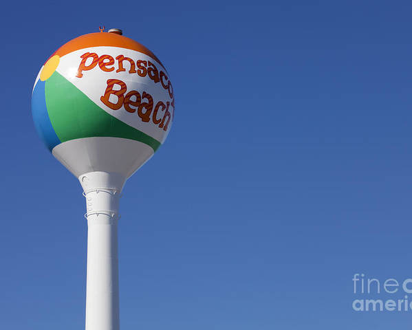Florida Poster featuring the photograph Pensacola Beach Watertower by Anthony Totah