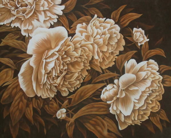 Peonies Poster featuring the pastel Peonies In Sepia by Karen Coombes