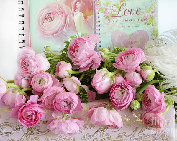 Peonies Ranunculus Roses Shabby Chic Cottage Love Pink Floral
