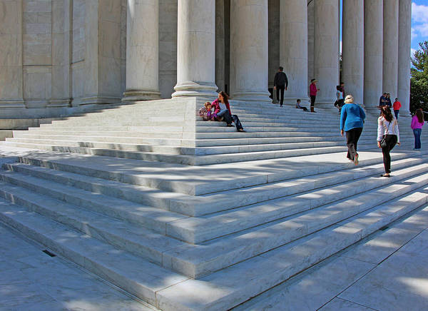 Jefferson Poster featuring the photograph People On Steps With Columns by Cora Wandel