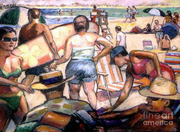 Beach Poster featuring the painting People On The Beach by Stan Esson