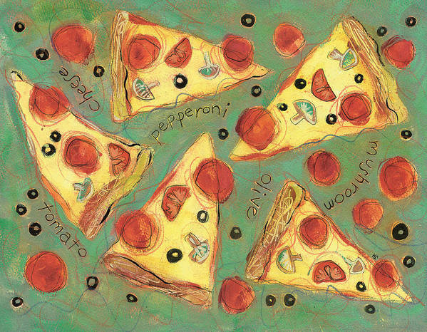 Pizza Poster featuring the painting Pepperoni Pizza by Jen Norton