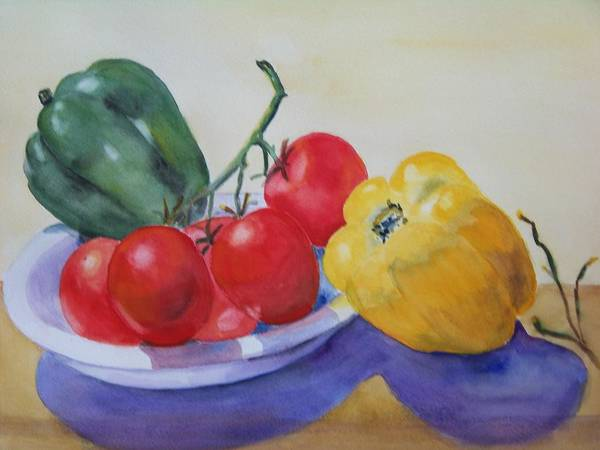Peppers Poster featuring the painting Peppers And Tomatoes by Vivian Larson