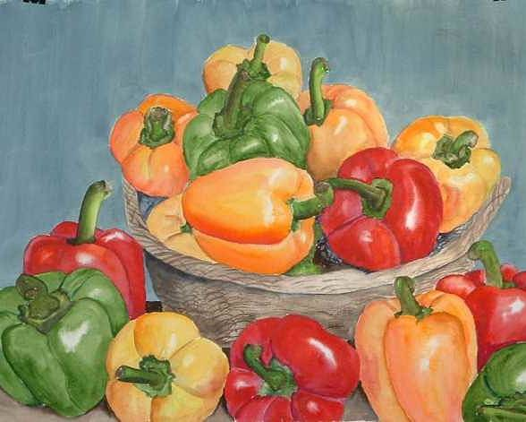 Poster featuring the painting Peppers by Diane Ziemski