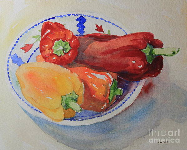 Watercolor Poster featuring the painting Peppers by Marsha Reeves