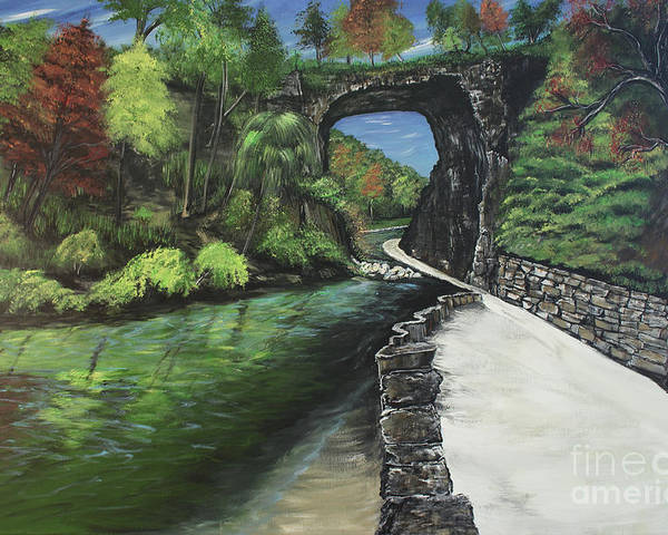 Natural Bridge Poster featuring the painting Perfect Fall Day At Natural Bridge Virginia by Katie Adkins
