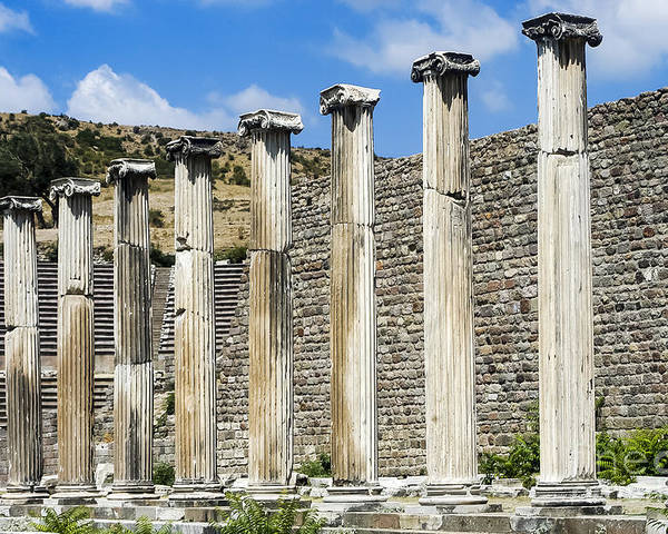Bergama Pergamon Turkey Asklepion Ancient Ruins Ruin Landscape Landscapes Colonnade Colonnades Column Columns Architecture Structures Structures Landmark Landmarks Poster featuring the photograph Pergamon Asklepion Colonnade by Bob Phillips