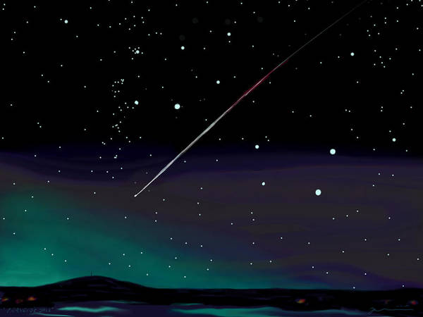 Meteor Poster featuring the digital art Perseid Meteor Shower by Jean Pacheco Ravinski